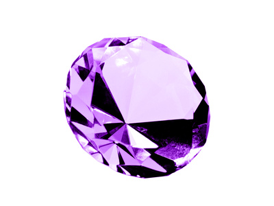 A close up on a isolated Amethyst jewel on a white background. Shallow DOF.