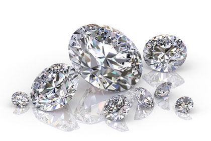 group of diamonds isolated on white background